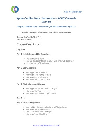 APPLE CERTIFIED MAC TECHNICIAN (ACMT) Courses in Mumbai - Cognitio Innovation