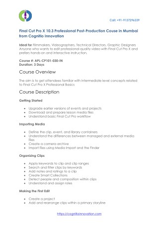 Apple Final Cut Pro X Certification and Training Courses in Mumbai - India - Cognitio Innovation