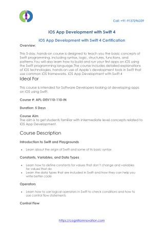 iOS App Development with Swift 4 Certification in Mumbai - India with Cognitio Innovatio