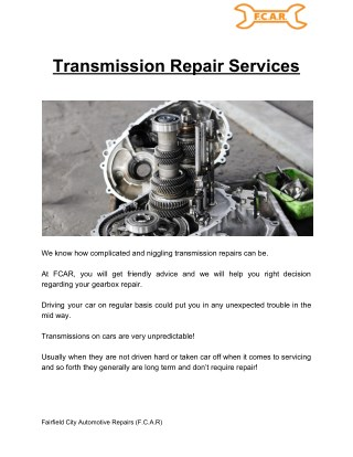 Transmission Repair Service - FCAR