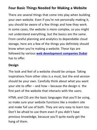 Four Basic Things Needed for Making a Website