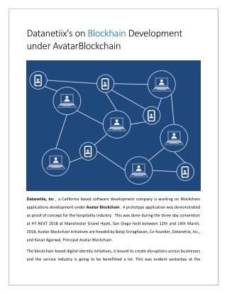 Datanetiix's on Blockhain Development under AvatarBlockchain