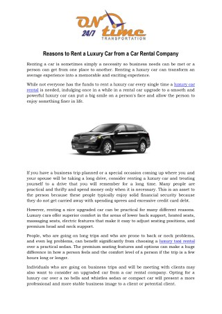 Reasons to Rent a Luxury Car from a Car Rental Company
