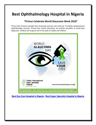 Best Ophthalmology Hospital in Nigeria