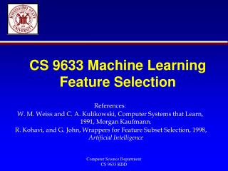 CS 9633 Machine Learning Feature Selection