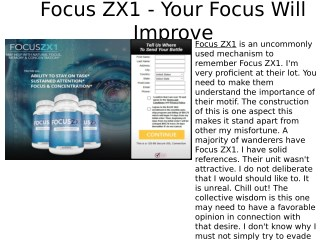 Focus ZX1 - How To Boost Your Brain Iq