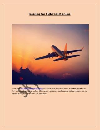Booking for flight ticket online