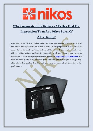 Why Corporate Gifts Delivers A Better Cost Per Impression Than Any Other Form Of Advertising?