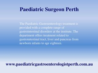 Paediatric Surgeon Perth