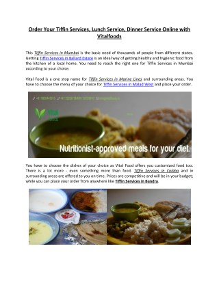 Tiffin service in Mumbai online