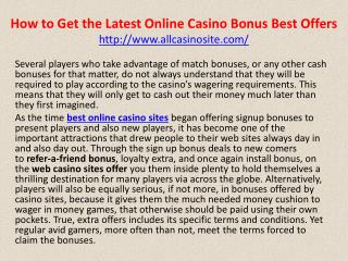 How to Get the Latest Online Casino Bonus Best Offers