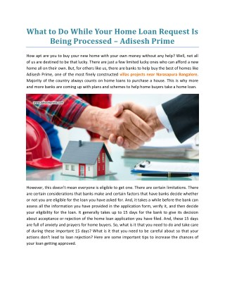What To Do While Your Home Loan Request Is Being Processed - Adisesh Prime