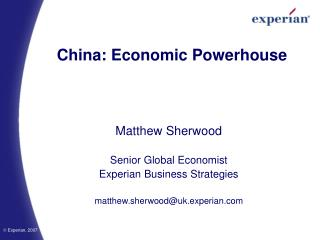 China: Economic Powerhouse