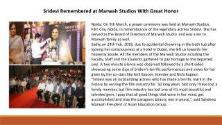 Sridevi Remembered at Marwah Studios With Great Honor