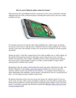 How to Assert Malaysia Online Casino Free Bonus