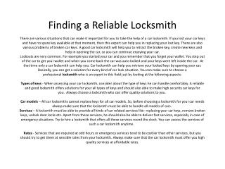 Finding a Reliable Locksmith