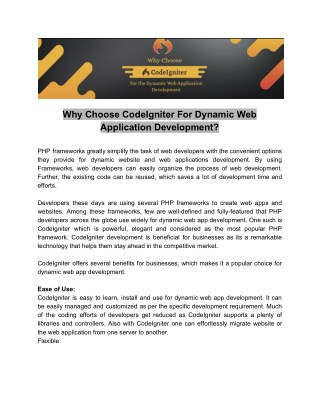 Why Choose CodeIgniter For Dynamic Web Application Development?