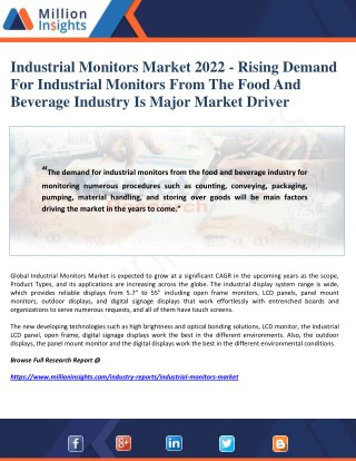 Industrial Monitors Market 2022 - Rising Demand For Industrial Monitors From The Food And Beverage Industry Is Major Mar