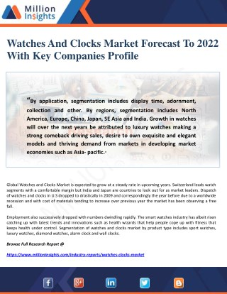 Watches And Clocks Market Forecast To 2022 With Key Companies Profile