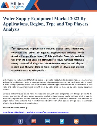 Water Supply Equipment Market 2022 By Applications, Region, Type and Top Players Analysis