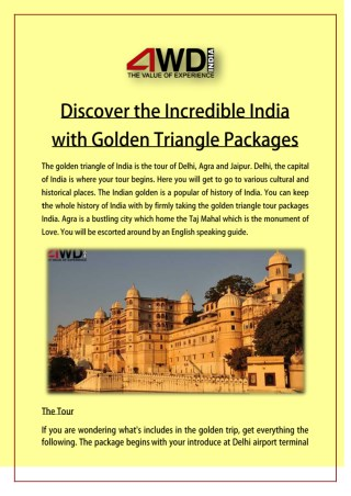 Discover the Incredible India with Golden Triangle Packages