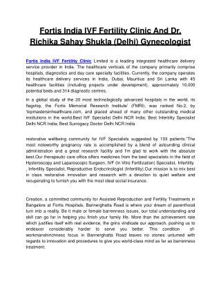 Fortis India IVF Fertility Clinic And Dr. Richika Sahay Shukla (Delhi) Gynecologist