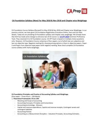 CA CPT (CA New Foundation Syllabus)