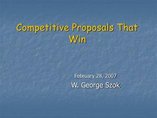 Competitive Proposals That Win