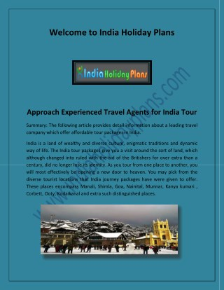 All India Tour Packages, Travel Agents in India- indiaholidayplans