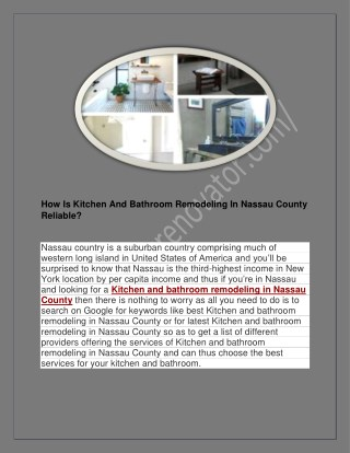 How Is Kitchen And Bathroom Remodeling In Nassau County Reliable?