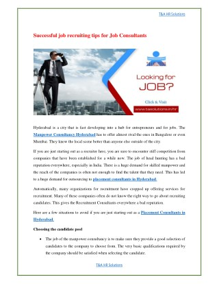 Successful job recruiting tips for Job Consultants by T&A Hr Solutions