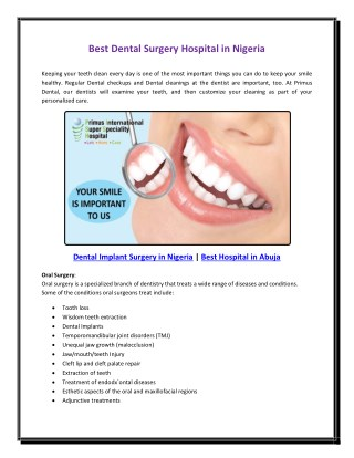 Best Dental Surgery Hospital in Nigeria