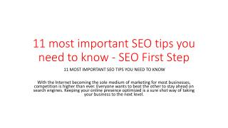 11 most important SEO tips you need to know - SEO First Step