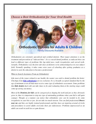 Choose a Best Orthodontist for Your Oral Health