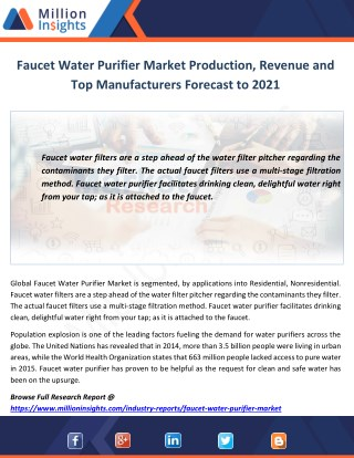 Faucet Water Purifier Market Production, Revenue and Top Manufacturers Forecast to 2021