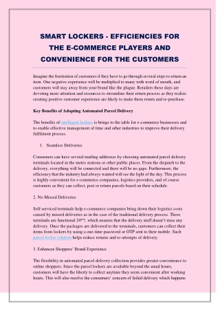 SMART LOCKERS - EFFICIENCIES FOR THE E-COMMERCE PLAYERS AND CONVENIENCE FOR THE CUSTOMERS