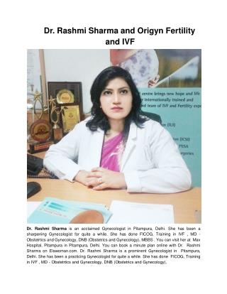 Dr. Rashmi Sharma and Origyn Fertility and IVF