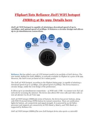 Flipkart lists Reliance JioFi WiFi hotspot JMR815 at Rs 999: Details here