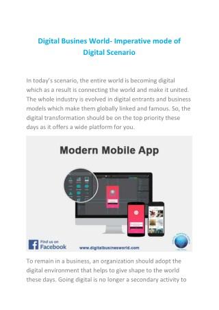 Digital Busines World- Imperative mode of Digital Scenario