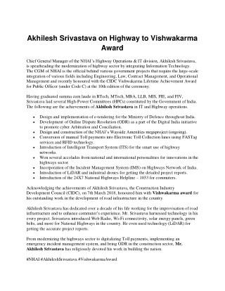 Akhilesh Srivastava on Highway to Vishwakarma Award.pdf