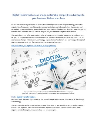 Digital Transformation can bring a sustainable competitive advantage to your business. Make a start here