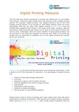 Digital Printing Malaysia | 50 Percent Print | Printing Services