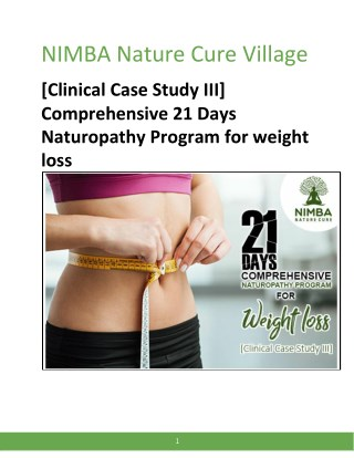 [Clinical Case Study III] Comprehensive 21 Days Naturopathy Program for weight loss