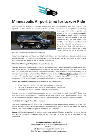 Minneapolis Airport Limo for Luxury Ride