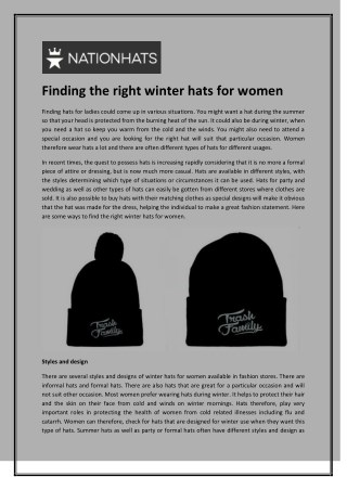 Finding the right winter hats for women