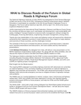 NHAI to Discuss Roads of the Future in Global Roads & Highways Forum.pdf