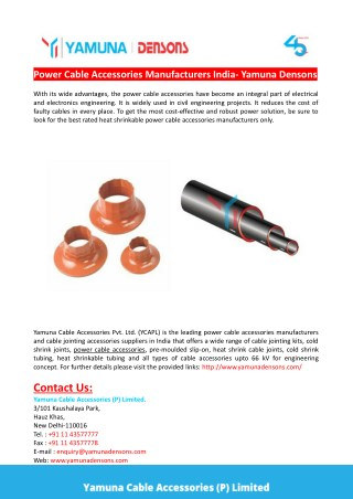 Power Cable Accessories Manufacturers India- Yamuna Densons