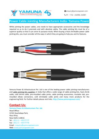 Power Cable Jointing Manufacturers India- Yamuna Power