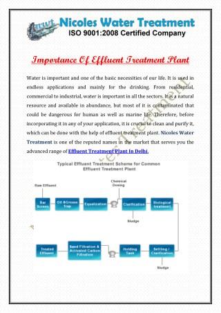 Importance Of Effluent Treatment Plant