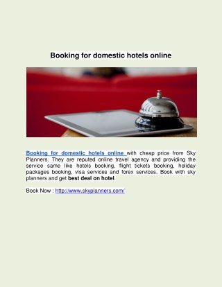 Booking for domestic hotels online